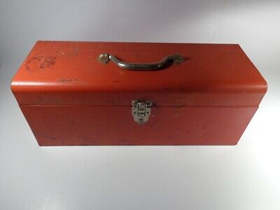 Red Metal Toolbox With Metal Tray