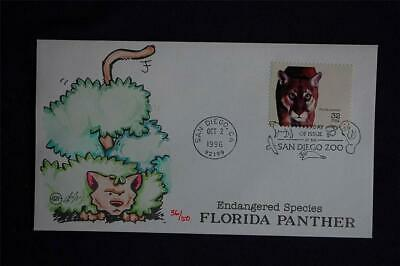 Endangered Species Florida Panther 32c Stamp FDC Steve Wilson Cachet Sc#3105m