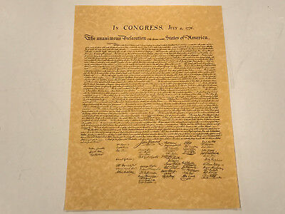 Declaration of independence replica on parchment paper 12 x 16