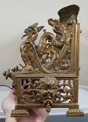 Ornate Antique French Double Inkwell with Eagle Cherubs Wyvrens / Dragons
