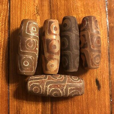 5 1600's Style Tibetan Chinese DZI Prayer Worry Bead Buddhist Temple Artifact