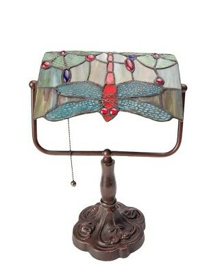 Victorian Trading Co Dragonfly Tiffany Style Stained Glass Bankers Lamp