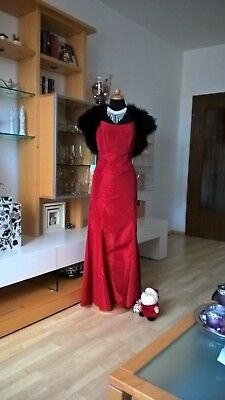 4d6404fc7adc VERA MONT COCKTAIL Kleid Gr 38 40 Godetrock lang + Corsage rot Satin sehr  sexy