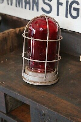 Explosion Proof Vintage Industrial Light Lamp Door Exit Red Glass Cage Factory