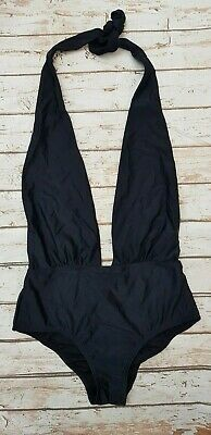 New South Beach Plunge Lace Trim Halter Swimsuit in Black Beach Holiday SE39