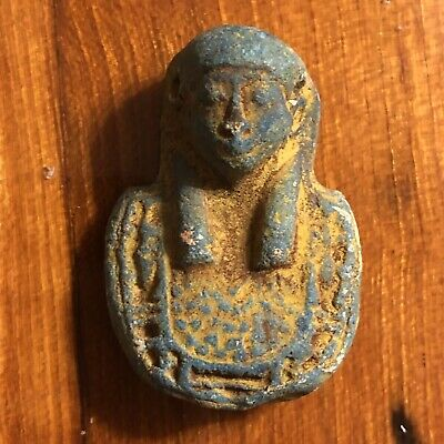 Ancient Egyptian Style Faience Amulet Talisman 1450 BC Mummy Artifact Clay Old