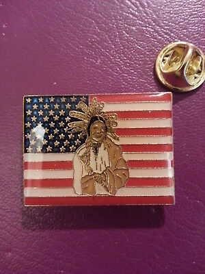 Native American Indian Usa Flag Sitting Bull Nice Large Vintage Enamel Pin Badge