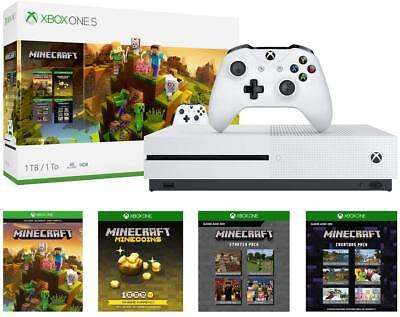 New Microsoft Xbox One S 1TB Minecraft Creators Bundle UHD Blu Ray 4K Streaming