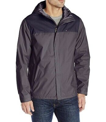 Tommy Hilfiger Men's Water Resistant Breathable Hooded Jacket, Grey/Navy - Small