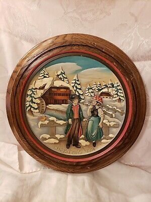 Vintage Anri Wood Framed Christmas Plate~1974 Christmas in the Black Forest 4th