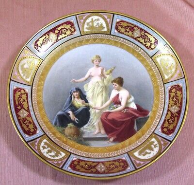 """Antique Royal Vienna THE FATES Porcelain Hd Ptd Mythological Charger Sgn;9.75""""Rd"""