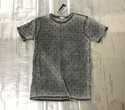 "Bnwt Boy's "" River Island "" Grey With Print Distressed T-Shirt - 11/12 Years !"