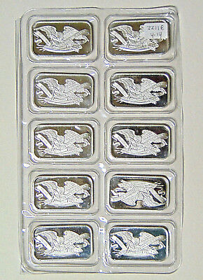 SEALED Sheet of 10 Eagle and Shield 1 oz .999 Fine Silver Bars