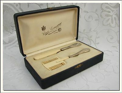 1920's FRENCH SILVER & BAKELITE BABY BRUSH GROOMING SET . VISIT MY STORE !!!