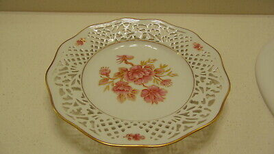 "Vtg Schumann Arzberg Tradition Germany Bavaria 10"" Reticulated Decor Floral"