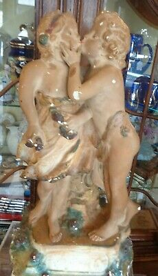 "Antique Vintage Victorian Chalk Ware Plaster Figurine ""the Kiss"""
