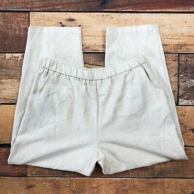 JM Collection Pull On Linen Pants Size 14 Womens Ankle Cropped Oatmeal Beige