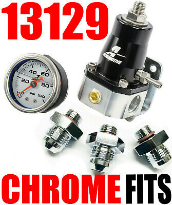 Aeromotive 13129 Efi Bypass Regulator 1000 hp Combo Messgerät -8 Chrom Armaturen