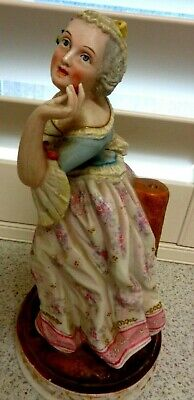 ANTIQUE FRENCH CERAMIC FIGURE  marked 10 inch from estate