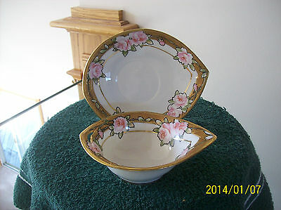 Nippon Bowl & Under Plate Vintage Stunning Moriage Jewel Encrusted Pink Rose