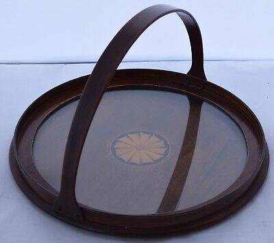 Antique Mahogany round Tray Inlaid Fan wood Handle butler serving unique vintage