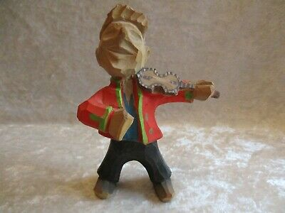 Norway Carved Wooden Boy/Man Playing Fiddle/Violin - Numbered 863