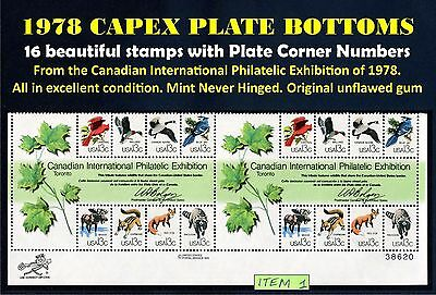 Scott 1757 PLATE BLOCK Double Capex 1978 Sheet Bottom 16 Unused Stamps MNH /1