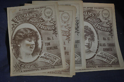 18802 14 Different Beechams Music Portfolios Beachams Patent Pills - Medicine