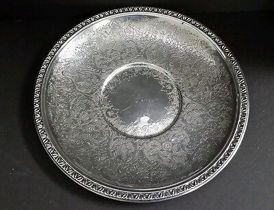 Reed & Barton Silverplate Brocade Round Serving Tray #1205