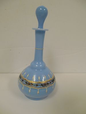 Blue Opaline Antique Hand Painted Enamel Gold Gilt Glass Cordial Decanter