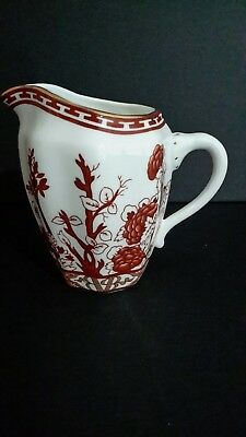 Vintage Coalport Indian Tree Coral Creamer Gold Rim England # 1