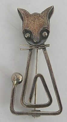 Vintage sterling Mexico, Mexican silver, Taxco, cat pin, brooch by Delfino