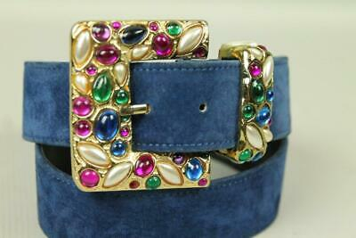 RARE Vtg EXPRESS Jelly Belly Jeweled Gold Tone Buckle Blue Suede Leather Belt M