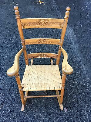 Antique Child's Rocker Ladder Back w Embossed Designs Splint Seat