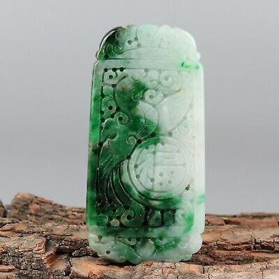 Chinese Exquisite Hand-carved beast Carving jadeite jade Pendant