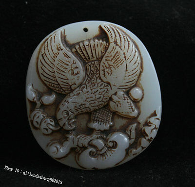 100% Chinese white jade eagle pendant amulet culture jadeite handcarved lucky