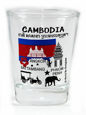 Cambodia Landmarks And Icons Collage Shot Glass Shotglass