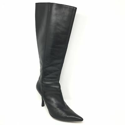 Women's Nine West Botamy Knee High Boots Shoes Size 8M Black Leather Zip Up J4