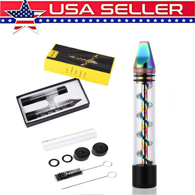 Newly Designed Rainbow Stainless Steel Smoking Twisty Glass Blunt Pipe Portable