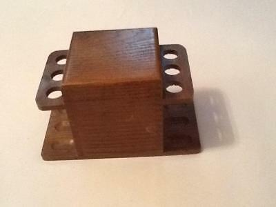 Vintage Wood Pipe and Tobacco Holder Holds 6 pipes 3 Each Side Of Humidor NICE !