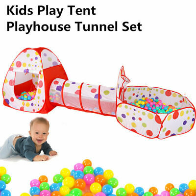 3 In 1 Kids Pop-Up Play House Tent Tunnel Ball Crawl Pool Indoor-Outdoor Toy