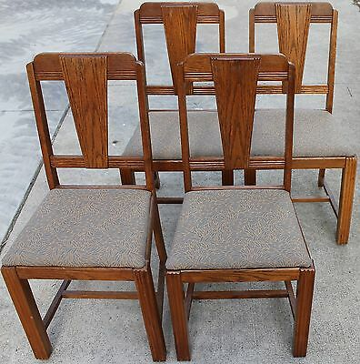 "4 Vintage Art Deco Style Oak Dining Chairs ""LOCAL PICK UP ONLY"""