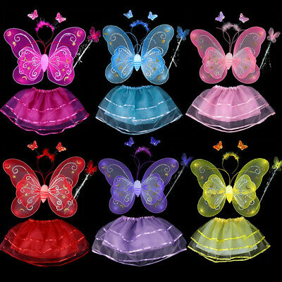 4PCS Princess Kids Girl Fairy Butterfly Wings Fancy Dress Cosplay Party Costume