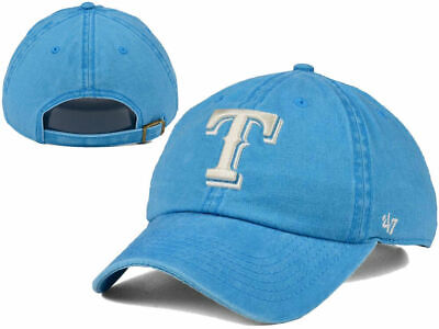 official photos b4e56 79ad2 Texas Rangers  47 MLB Summerland CLEAN UP Cap Blue 1 Size Buckle Strapback  Hat