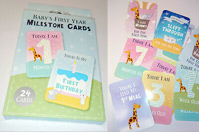 FIRST YEAR BABY MILESTONE CARDS New Parent Gift 1st SMILE TOOTH MONTH Teeny 24pk