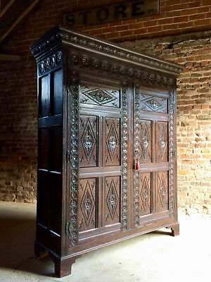 Stunning Antique Oak Wardrobe Armoire Cupboard Heavily Carved Circa 1790