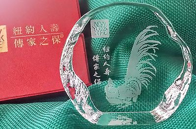 CHINESE ZODIAC YEAR of the ROOSTER Crystal Paperweight w/ Box New York Life Ins