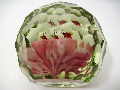 Antique Vtg Multi Faceted PINK CARNATION Glass Paperweight RARE w/ BUGS Insect !