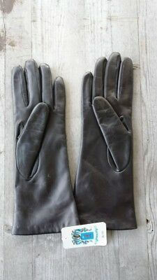 Portolano Italy Leather 100% Cashmere-Lined Gloves Size 7 – New