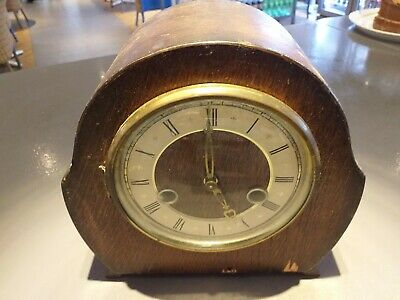 ANTIQUE 1930's art deco inspired clock mantle mantel OAK vintage FREE UK POST
